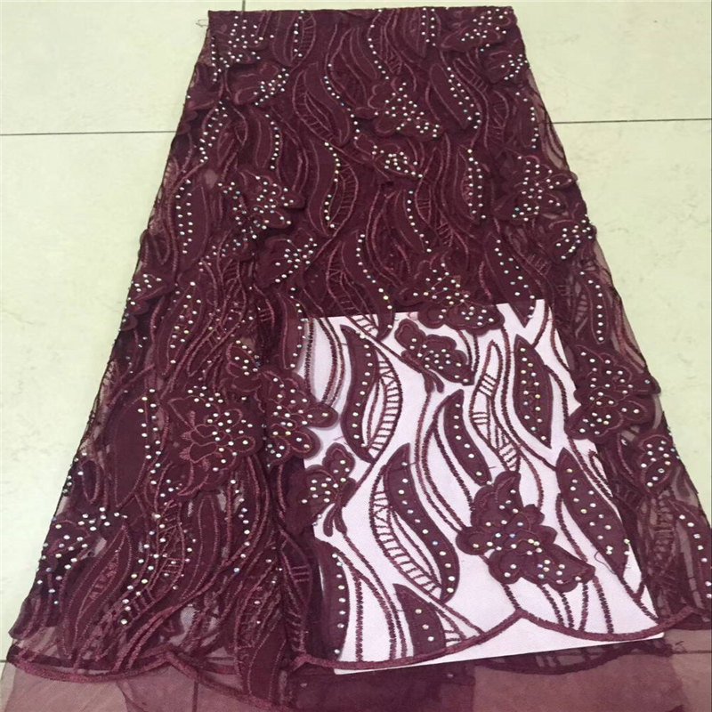 2018 african lace fabric nice looking wine color design french lace fabric 5 yards per lot hot sale nigerian tulle lace fabric2018 african lace fabric nice looking wine color design french lace fabric 5 yards per lot hot sale nigerian tulle lace fabric
