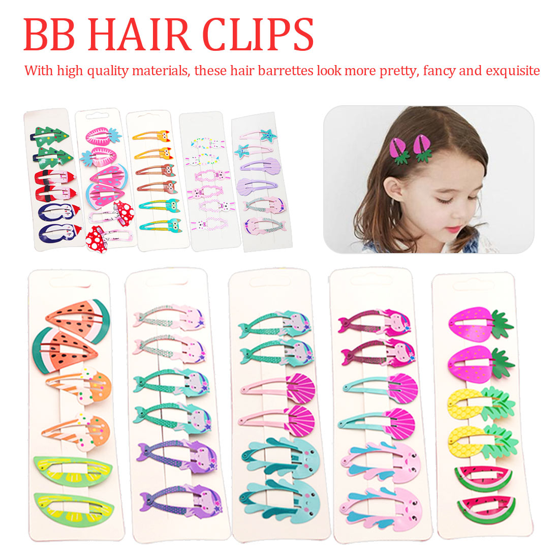 6PCS Cute Printed Baby Hair Clips Cute Fruit BB Clips Hairpins Girls Hair Accessories Children Headwear in Hair Accessories from Mother Kids