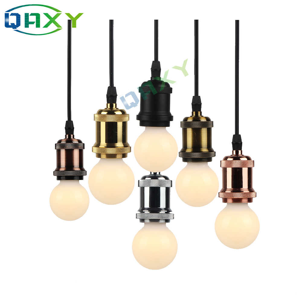 Aluminum Alloy E27 Vintage Simple Pendant Light 110V-240V Edison Socket Light Holder Pendant Lamp Golden Silver Hanging Lighting