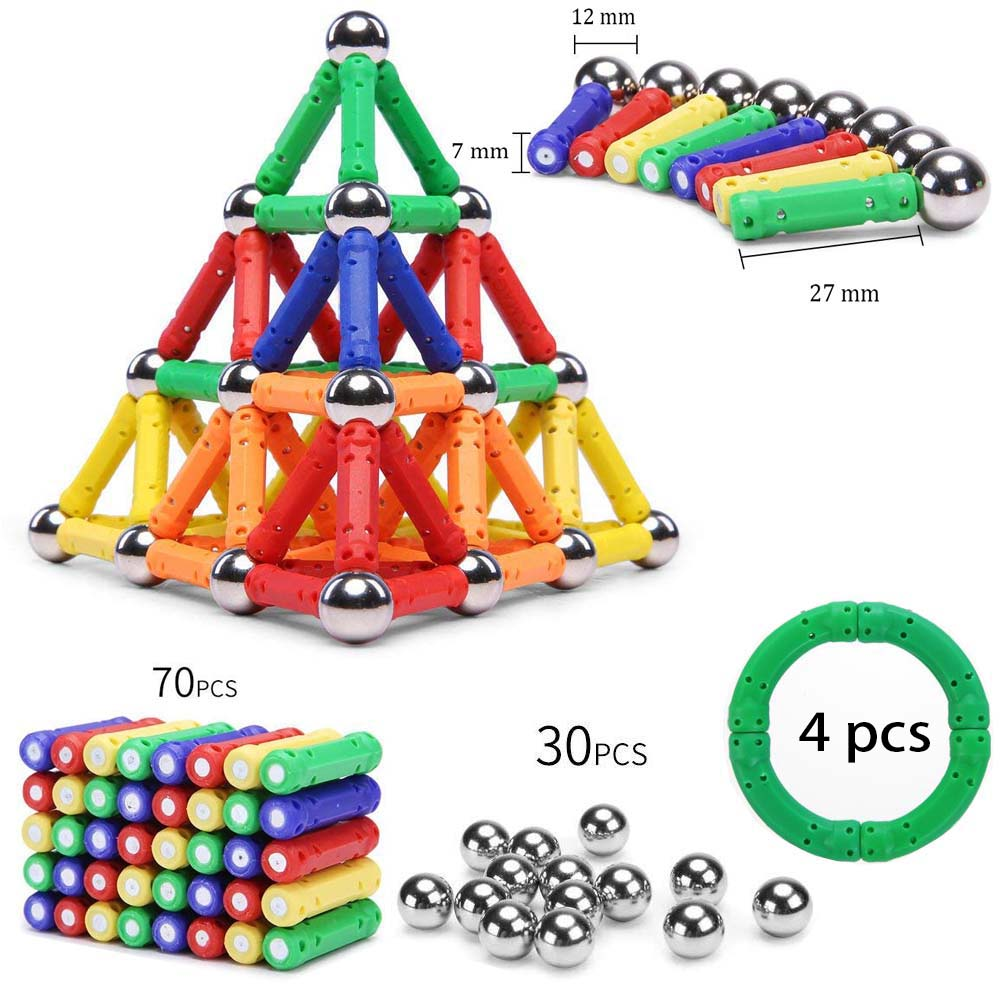 104 PCS DIY Magnetic Building Toys Magnet Balls and ABS Magnet Sticks Construction Toys for Children, Designer Educational Toys.104 PCS DIY Magnetic Building Toys Magnet Balls and ABS Magnet Sticks Construction Toys for Children, Designer Educational Toys.