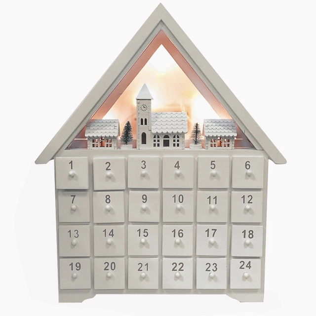 Christmas Decoration Wooden Countdown Advent Calendar House High 33 Cm Led Lighting Battery Ed