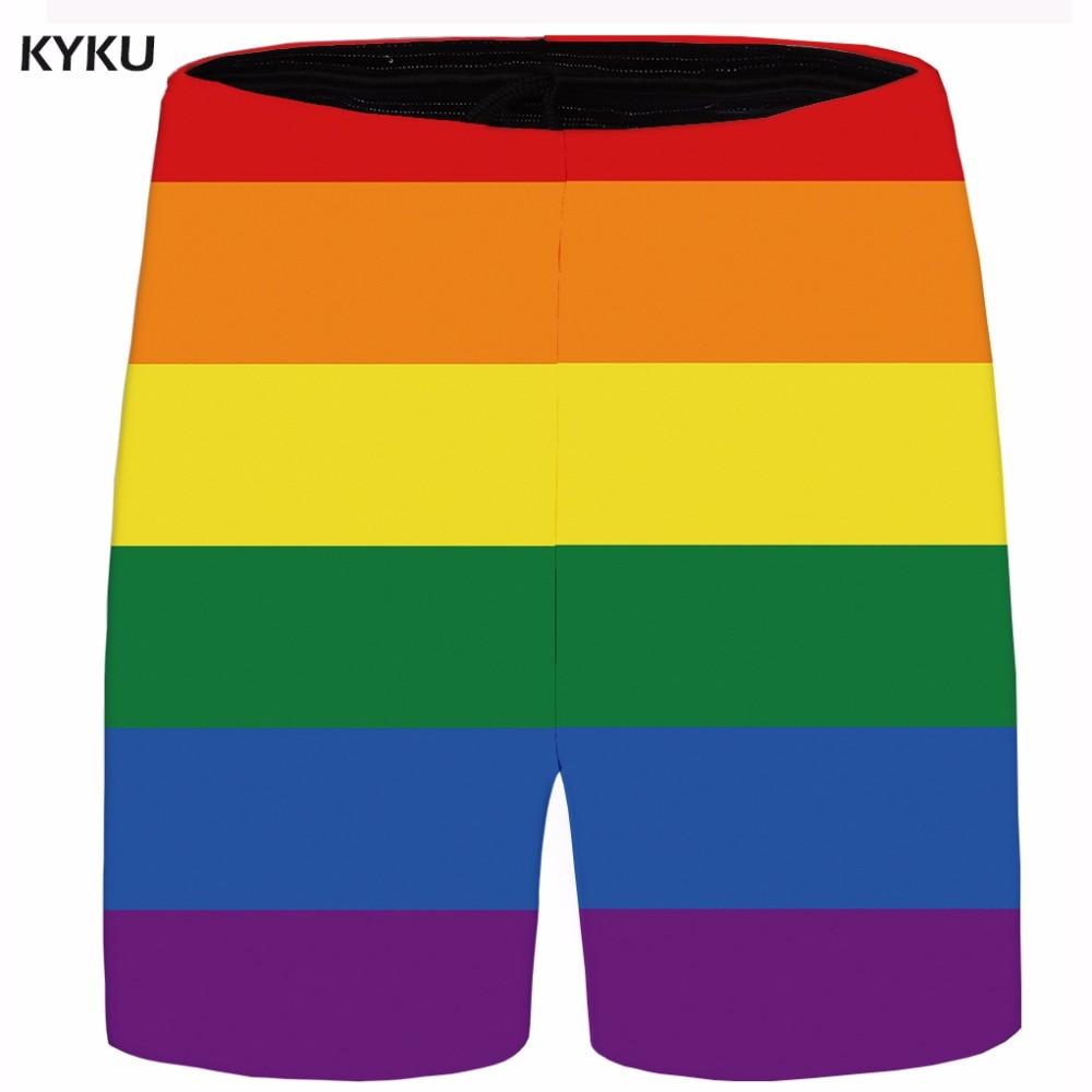 KYKU Brand Rainbow Short Men Colorful Beach Shorts Summer Lattice Beautiful Cargo Casual Shorts Cool Anime Mens Short 2018 New