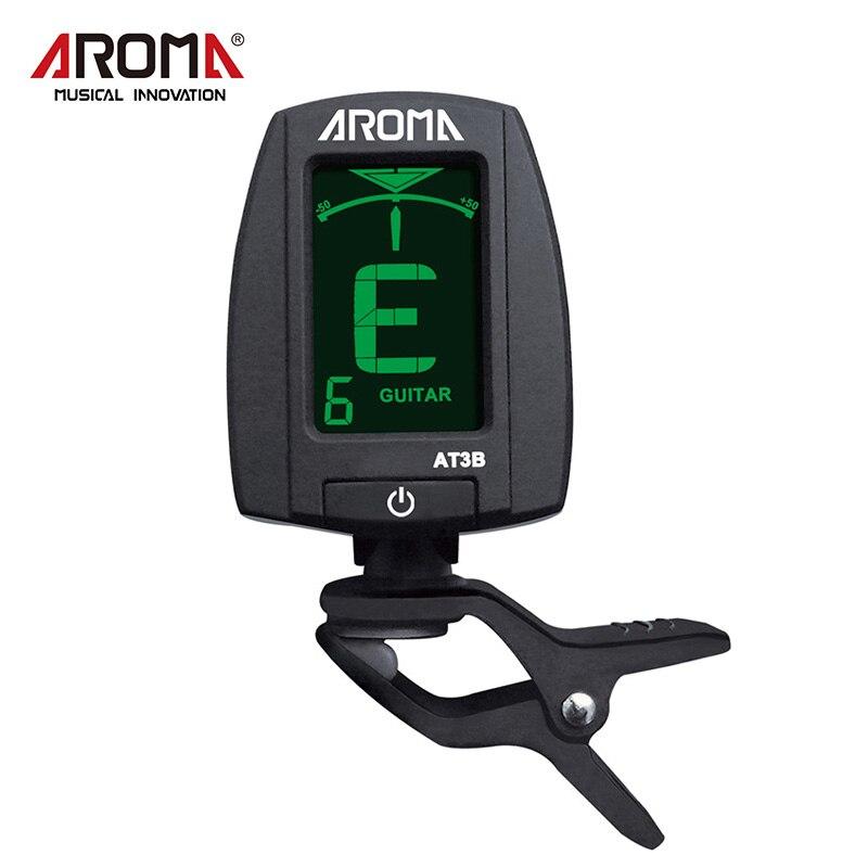 Aroma Clip-on Bass Tuner Pantalla LCD portátil de un botón Rotación de 360 grados Sintonización digital para bajo de guitarra cromática