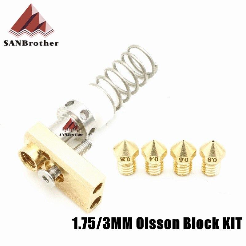 3D impresora actualización Ultimaker 2 + UM2 + extendida Olsson de boquilla extremo caliente Kit por 1,75/3mm filamento calentador de bloque de todo el precio