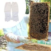 Защитные перчатки для пчеловодства из козьей кожи для пчеловодства с вентилируемыми длинными рукавами желтый+ белый L из овчины вентиляционная ткань* D
