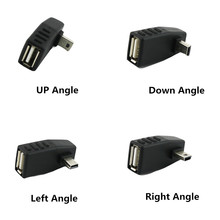 5x Mini USB 5Pin B Male to USB 2.0 Type A Female OTG Host Adapter Left/Right/UP/Down Angle Black цена и фото