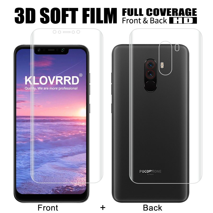 2Pcs Front + Back Soft Film For Xiaomi Mi <font><b>Pocophone</b></font> <font><b>F1</b></font> Screen Full Cover Protector For Mi <font><b>Pocophone</b></font> <font><b>F1</b></font> Silicone Hydrogel <font><b>Sticker</b></font> image