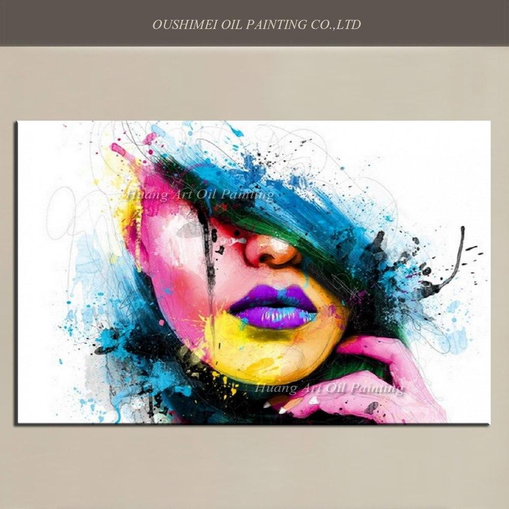 Стены Книги по искусству для большой моды Холсты для рисования Для женщин Уход за кожей лица изображение абстрактные фигуры ручная роспись ...