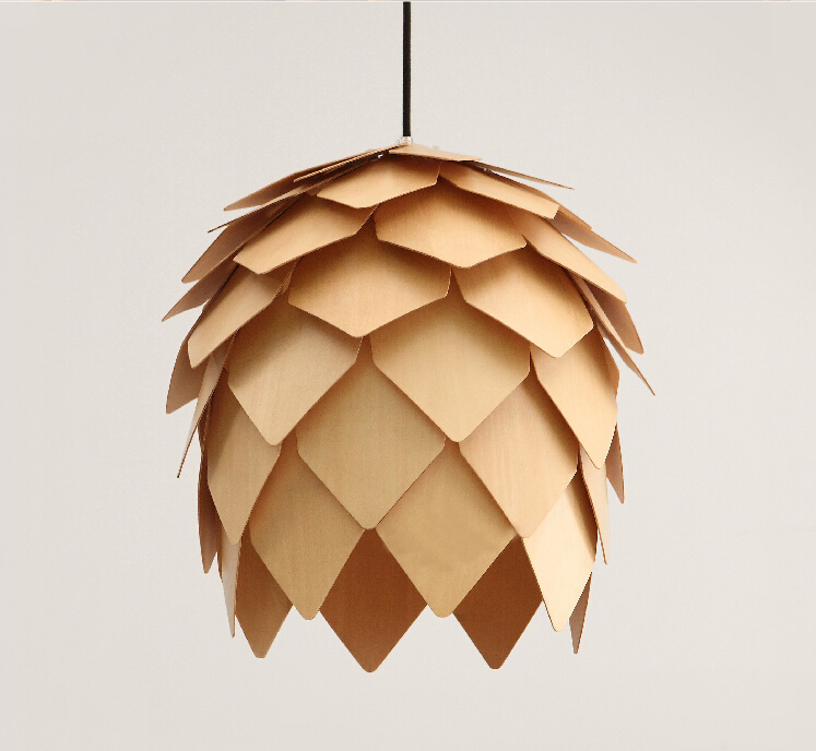 Wholesale new modern novelty creative pine cone pendant light lamp wood lampshade pendant lighting lamp for home living room new novelty kid children room light led modern pendant light lamp with 5 g4 for home moon star wicker lampe crystal lighting