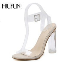 NIUFUNI Plus Size Women's Sandals Ankle Strap Adjustable Buckle Clear Block Chunky High Heel Sandal Open Toe Fashion Dress Shoes plus size color block open shoulder dress