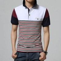 2016 New Summer T Shirt Stripe Pattern Colour Matching Short Sleeve Turn Down Collar Mens T