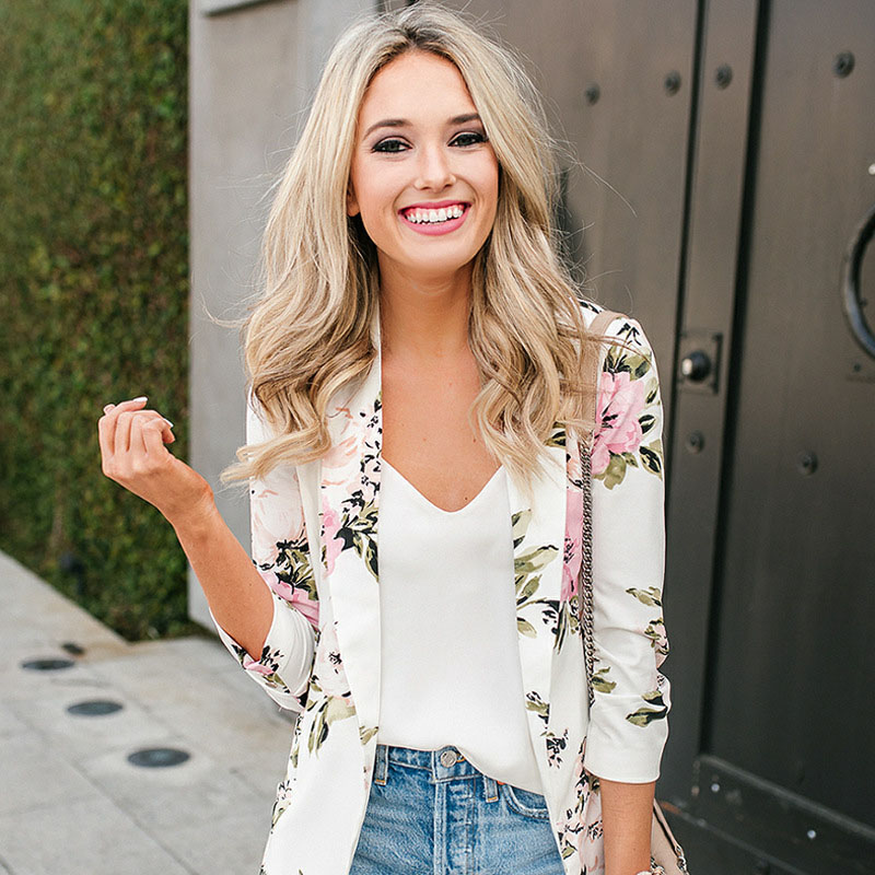 2019 Spring And Autumn Women's Slim Small Suit Explosion Hot Sale Peony Print Long Sleeve Wild Fashion Suit Tops