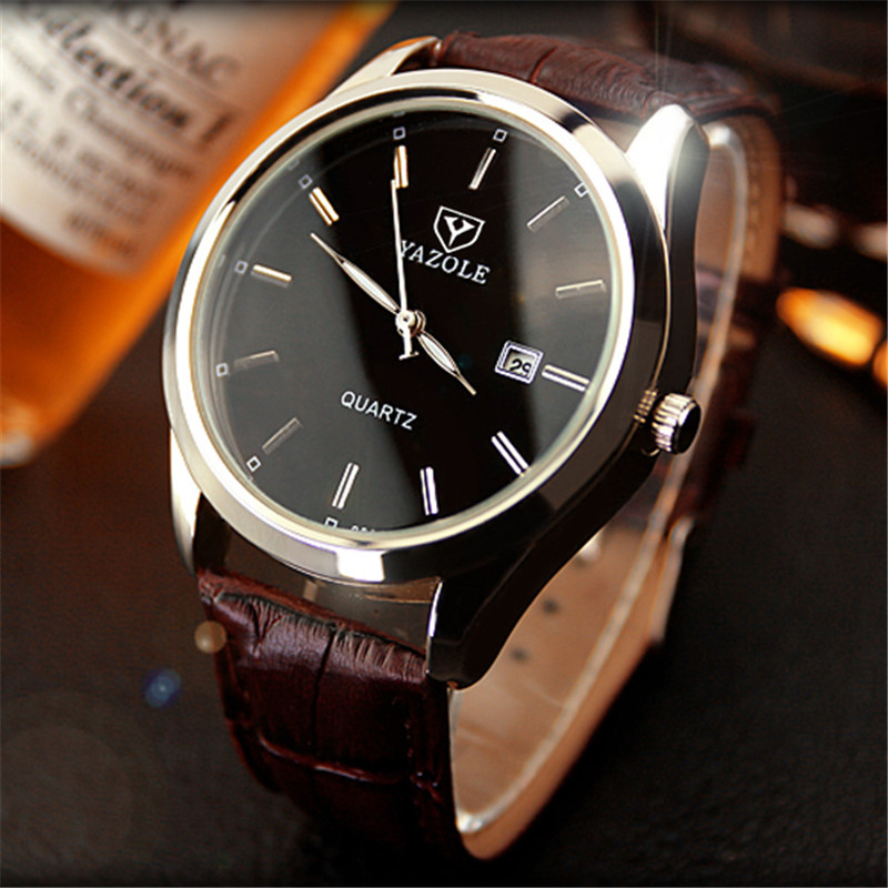 YAZOLE Quartz Watch Men High Grade Business Kalender Watch Läder Ljuspekare Big Dial Mens Klockor Relogio Masculino