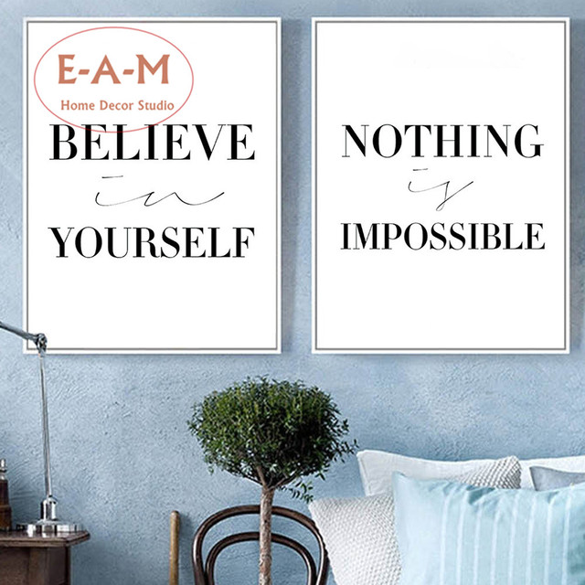 E A M Believe Yourself Quote Canvas Art Print Painting Poster Wall ...