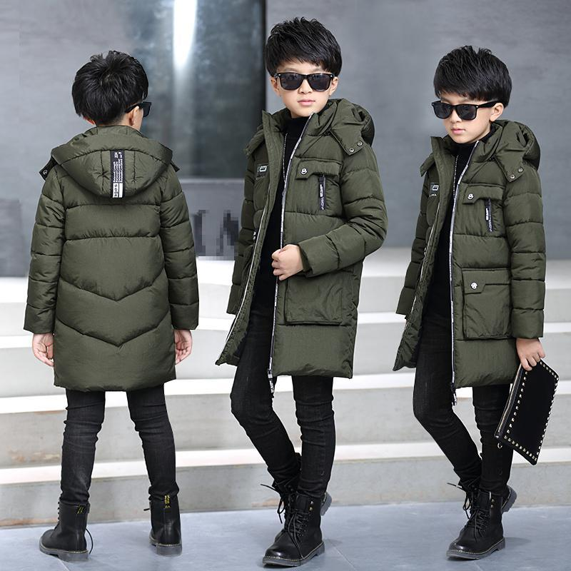 The boy's thick coat 2017 new winter clothes fashion movement big boy baby warm winter children long cotton padded jacket free shipping winter new children s wear patch splicing shoulder button boy cotton padded clothes child quilted jacket