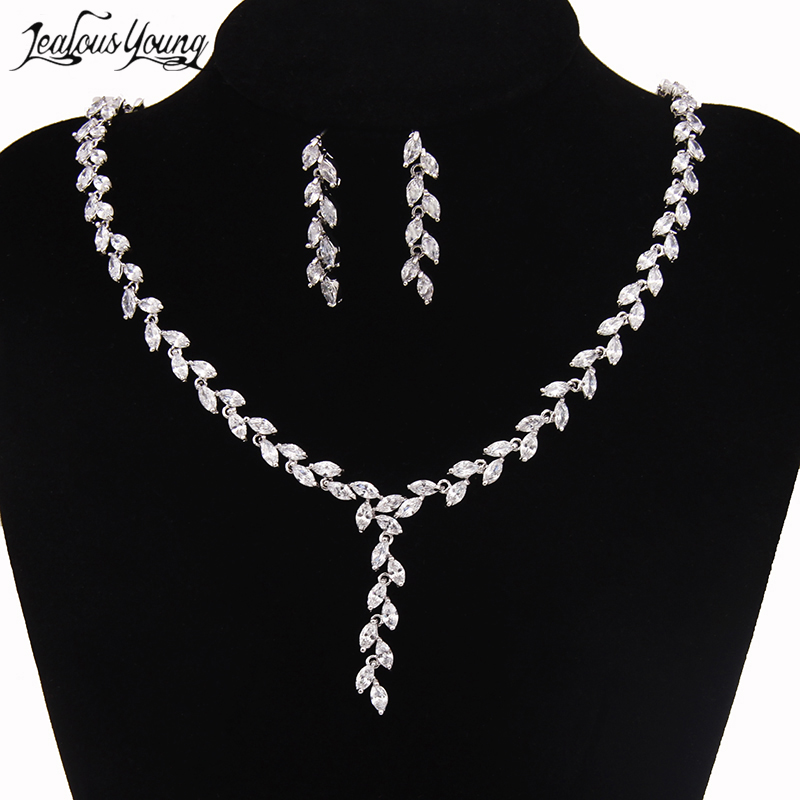 Leaf Crystal Brides Jewelry Sets Silver Color Rhinestone Necklace Sets Wedding Jewelry For Women Bijoux Mariage AS070 цена 2017