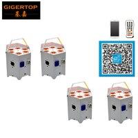 Tiptop 4 упак. 6x5 Вт RGBWA Батарея Дистанционное управление LED PAR может 5in1 Цвет чистый Янтарный шайба эффект низкой рабочая Шум Вентилятор охлажден