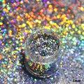 0.2mm Plata Escarcha Láser Holográfico Glitter polvo del Polvo de Uñas Glitter En Polvo Láser de Brillos de Uñas 3 ml