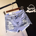 2016 Европейских и Американских BF летний ветер женский синий высокой талией джинсовые шорты женщин носить свободные заусенцев отверстие шорты SL048