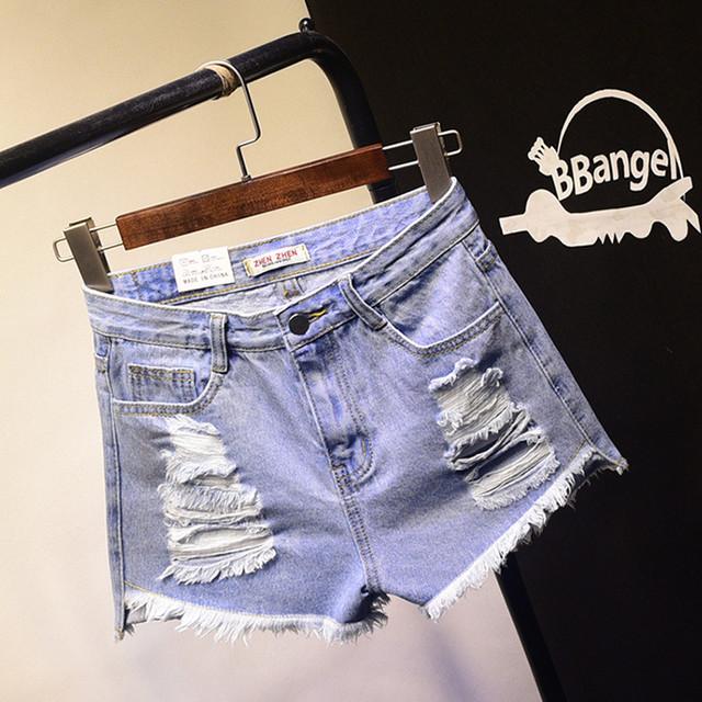 2016 BF verano femenino de viento de Europa y América azul de cintura alta pantalones cortos de mezclilla mujeres desgastado agujero rebabas sueltas shorts SL048