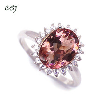 CSJ Zultanite Ring Sterling 925 Silver Created Stone Color Change Fine Jewelry Women Wedding Engagement Party Gift