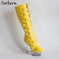 Sorbern Bright Yellow Women Boots Knee High Perspex Heels Ladies Boots Custom Colors Fashion Stretch Boots Custom Leg Calf Size