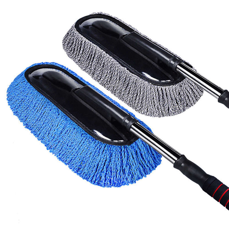 Universal Car Cleaning Brush Auto Window Duster Retractable Microfiber Stainless Steel Long Handle Dust Washable Car Washer