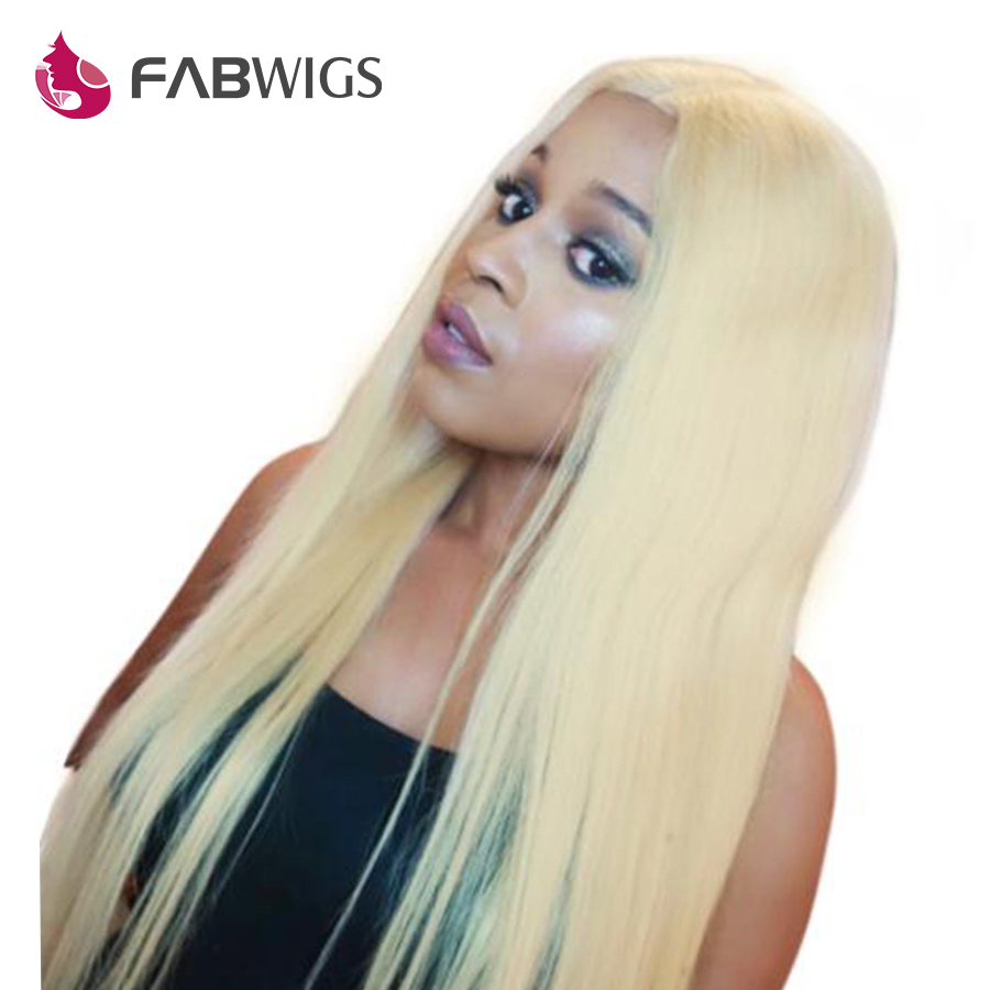 Fabwigs #613 Blonde Full Lace Human Hair Wigs with Baby Hair Pre Plucked Brazilian Remy Human Hair Wigs For Women
