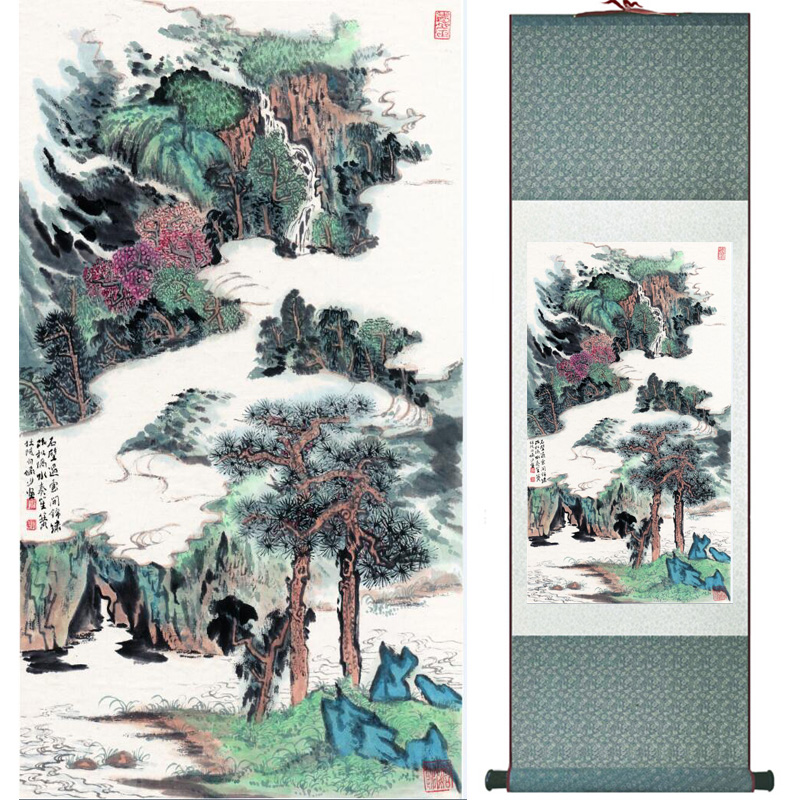 landscape painting Home Office Decoration Chinese scroll painting mountain and River paintingPrinted painting060501