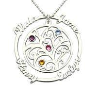 AILIN árbol familiar collar con piedra natal plata mano estampada madre collar piedra de nacimiento Collar para mamá