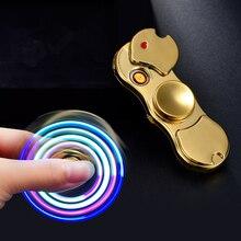 Световой индикатор Tri Непоседа ручной Spinner зажигалки EDC Tri-Spinner Бэтмен палец игрушки USB аккумуляторная Непламено электрическая дуга