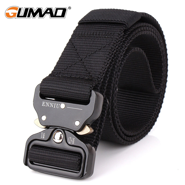 Men Heavy Duty Adjustable Tactical Combat Belt Airsoft Military Police Metal Buckle Waist Straps Swat Waistband Accessories