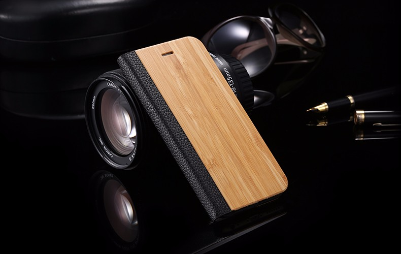 Vintage Genuine Bamboo Wood Flip Leathe Case For iPhone 6 6S Plus Real Rosewood Wooden Wallet Cover For iPhone 7 7 Plus Card Slot (15)
