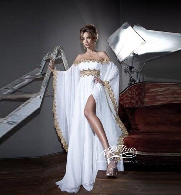 d3900f3c949 Летний стиль новый сексуальный арабский вечерние платья кафтан дубай платье  элегантных женщин длинные рукава шифон белый