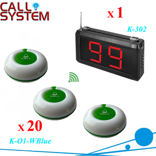 Electronic Call Bell System 1 Wall Display K-302 work with 20 Guest Buzzer wireless equipment  цены