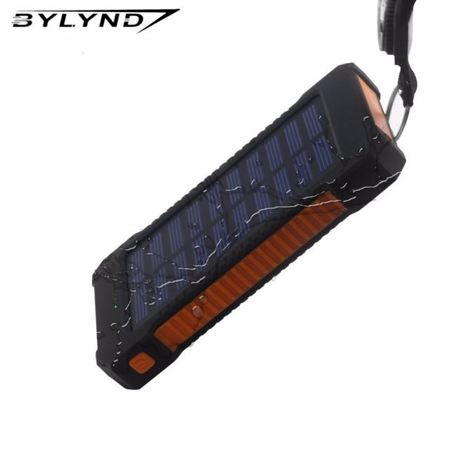 2017 Novo Banco De Energia Solar 20000 mah Portátil À Prova D' Água Dual-USB powerbank Carregador de Bateria Solar para todos os Telefones Universal carregador