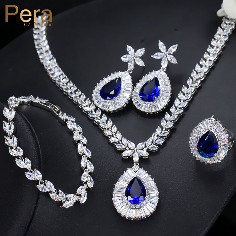 Pera Luxury Bridal Wedding 4 Pcs Blue Jewelry Set Big Water Drop Cubic Zircon Necklace Earrings Bracelet And Ring For Women J223 лонгслив guess by marciano цвет белый