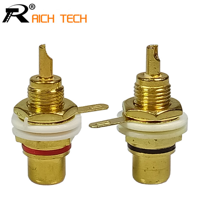 20pcs/10pairs RCA Wire Connector Gold plated RCA Jack Panel Mount ...