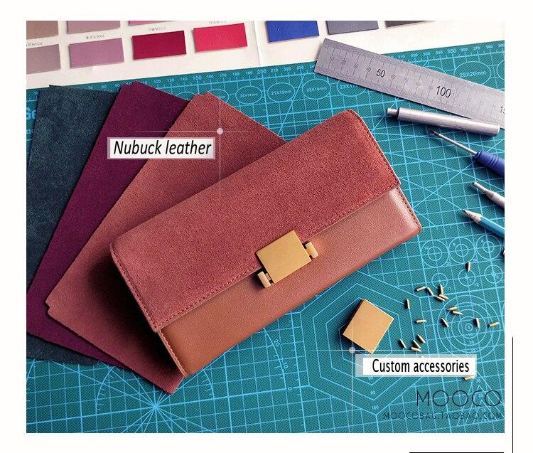 Kvinnor Plånböcker Äkta Läder Nubuck Läder Plånbok Lång Design - Plånböcker - Foto 5