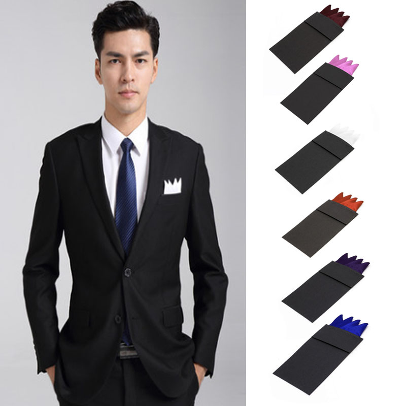 2017 New Fashion Men Solid Color Pocket Square Handkerchief Prefold Wedding Party Hanky