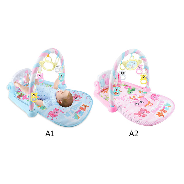 Newborn Baby Fitness Bodybuilding Frame Pedal Piano Music Carpet Rocking Chair Activity Kick Play Education Toy 1