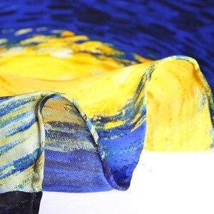 Image 5 - Donkerblauw 100% Real Zijden Sjaal Voor Dames Merk Designer Sjaals Lente Herfst Van Gogh Olieverf Vierkante Sjaals Wraps 90*90Cm