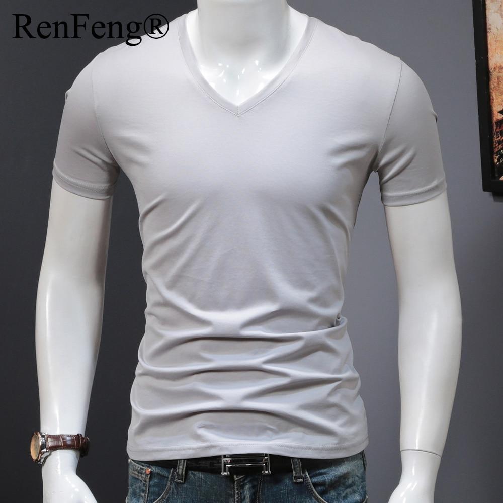 Man's Plain Ice Silk Seamless Underwear Seamless V-neck blank t shirt Men Clothes Comfortable Mens White Undershirts (18)