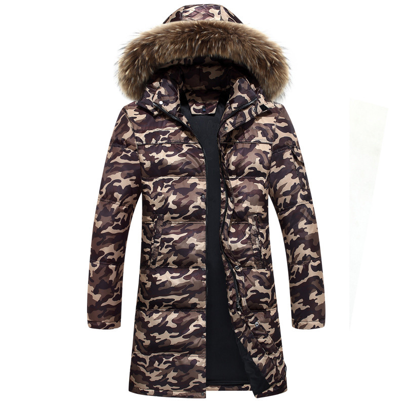 Nuevo abrigo de invierno para hombre abrigo de camuflaje grueso chaqueta de abrigo para hombre 90% blanco pato abajo chaquetas de camuflaje verde abrigos - 2