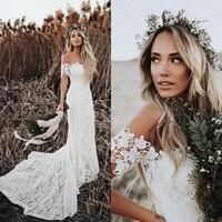 Verngo кружевное свадебное платье 2019 Русалка с открытыми плечами Свадебные платья пляжные свадебные платья развертки поезд на заказ