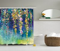 Ivies And Vines Flowers In Soft Colors Summer Garden Print Polyester Fabric Bathroom Shower Curtain Set