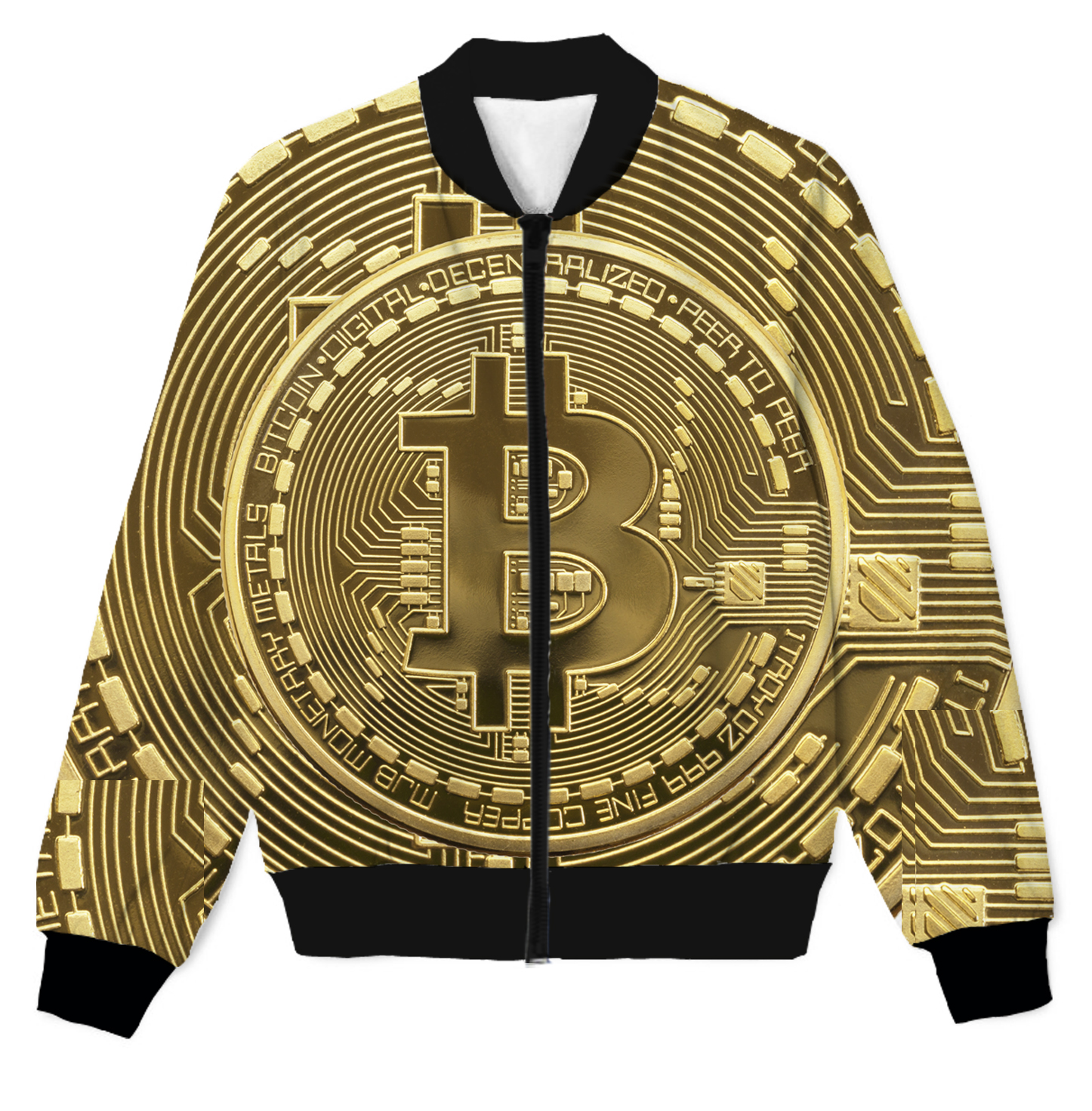 BITCOIN MENS CREW NECK SWEATSHIRT JUMPER GOLD PRINTED BLACK//GOLD