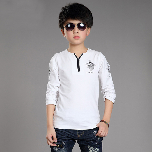 Kids Boys T-Shirts Brand Kids School Uniform TEES Long Sleeve Boys Clothing Autumn Spring Teenage Kids Clothes Casual Boys Tops
