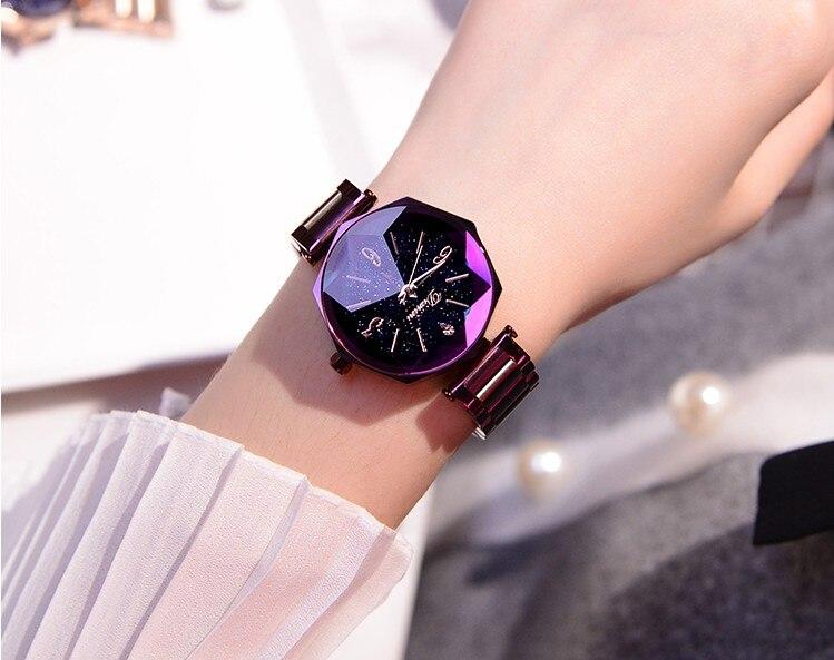 2018 高級ブランドの女性のクリスタル腕時計女性星空ファッションローズゴールドクォーツ時計女性ステンレス鋼腕時計  グループ上の 腕時計 からの レディース腕時計 の中 2
