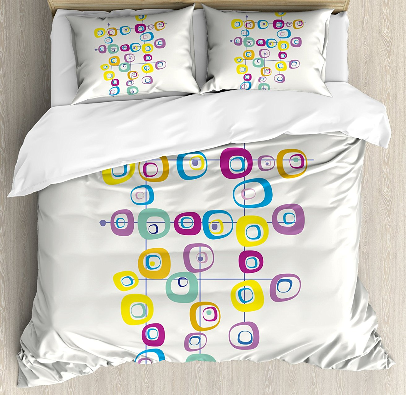 Mid Century Duvet Cover Set Hippie Artistic Squares on Intersecting Lines Colored Cool and Crazy Themed Art, 4 Piece Bedding Set